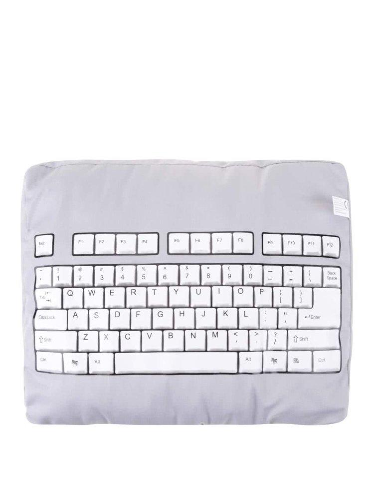 Šedý polštář s potiskem klávesnice Donkey Nerd Nap