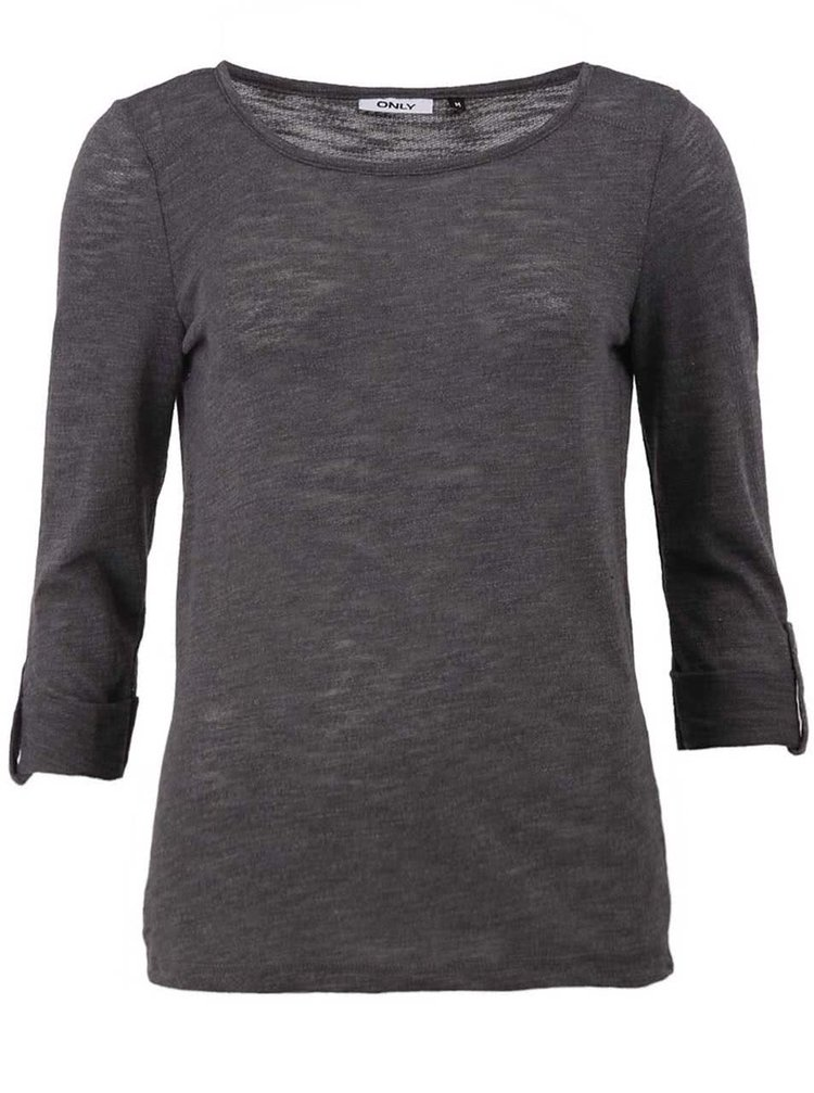 Tmavě šedé tričko s 3/4 rukávem ONLY Jess