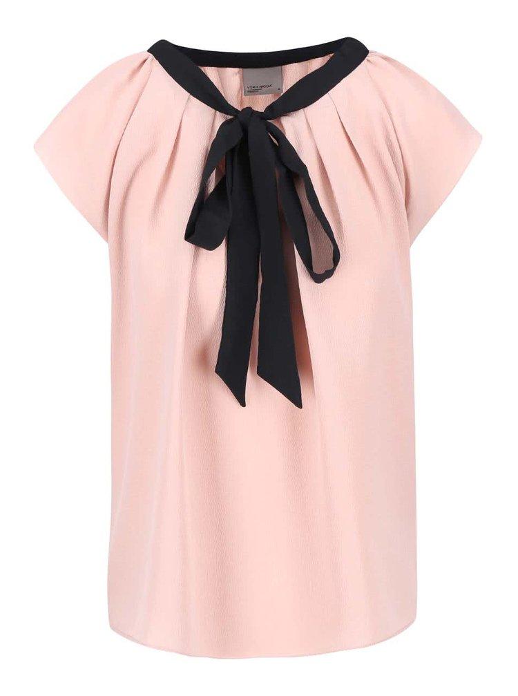 Bluză roz cu fundă VERO MODA Stein