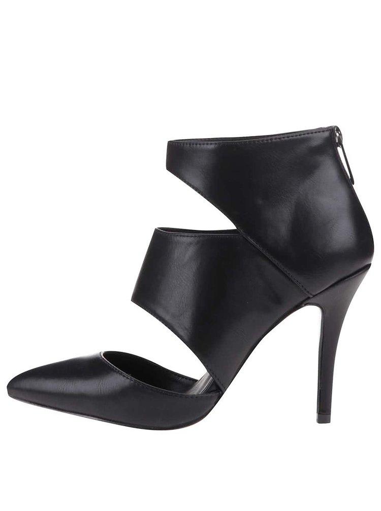 Černé kožené sandálky na podpatku ALDO Flemings