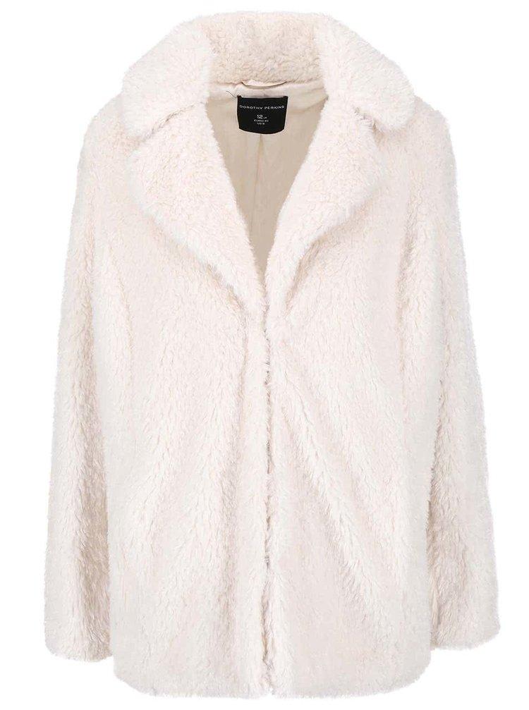 Krémový kabát z umělé kožešiny Dorothy Perkins