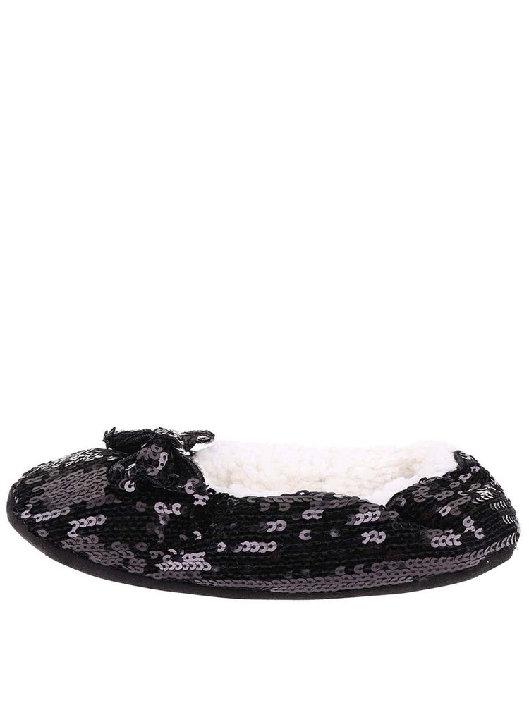 Papuci de casă negri cu paiete Something Special by Moon