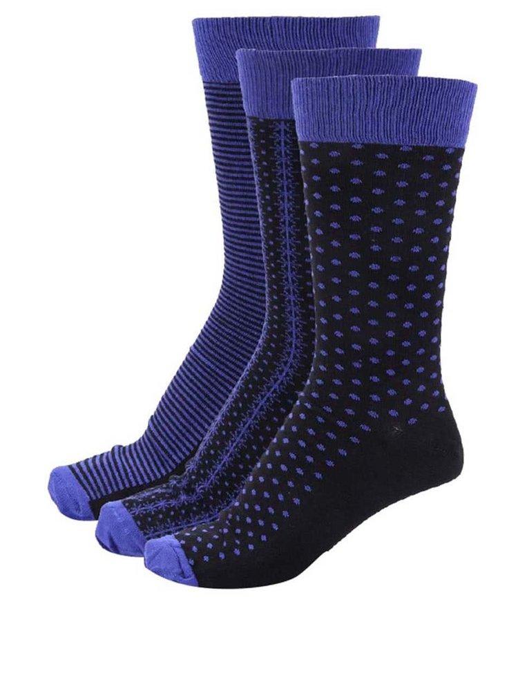 Súprava troch modro-čiernych pánskych ponožiek Oddsocks Matt