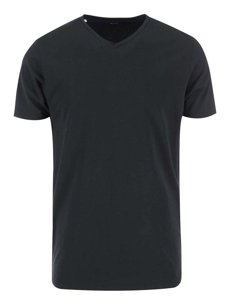 Tricou negru cu decolteu în V Pima de la Selected