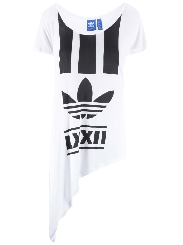 Biele dámske asymetricky strihané tričko adidas Originals Edgy