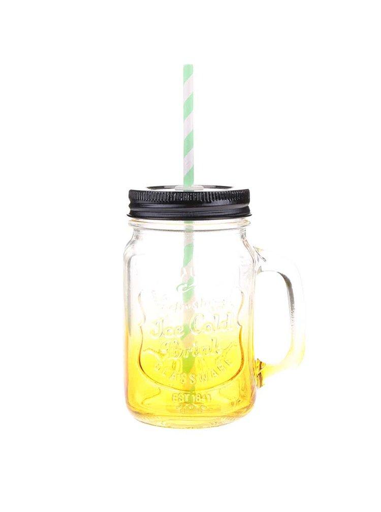 Žltý ombré sklenený hrnček so slamkou Helio Ferretti