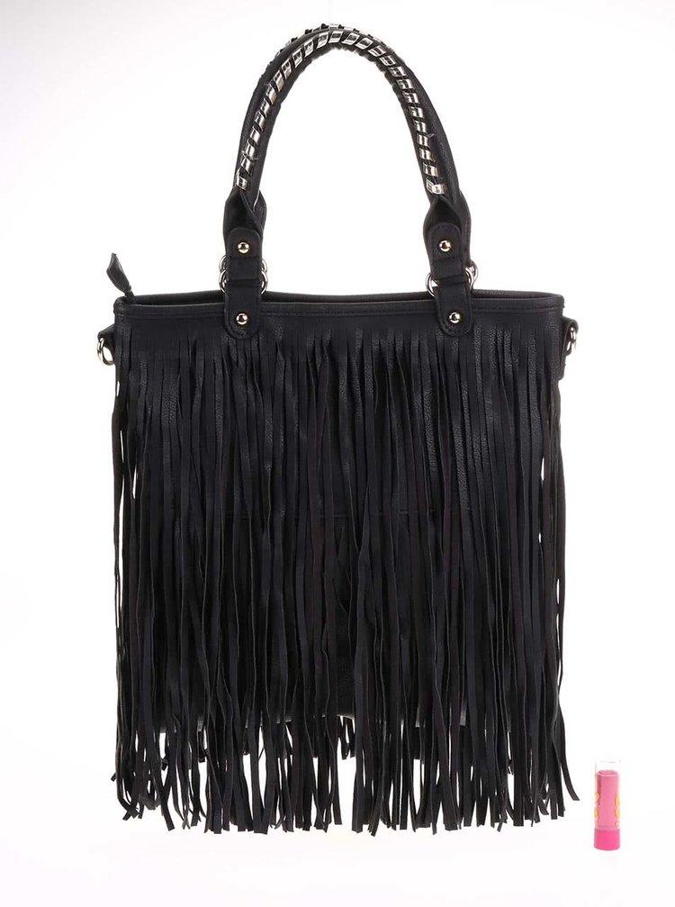 bcde648c77 Čierna kabelka so strapcami Gessy · Čierna kabelka so strapcami Gessy