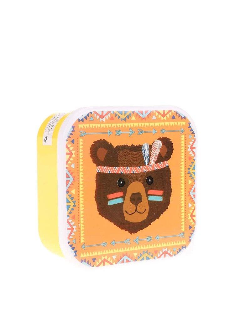 Žlutý svačinový box s medvědem Sass & Belle Bear Tribal