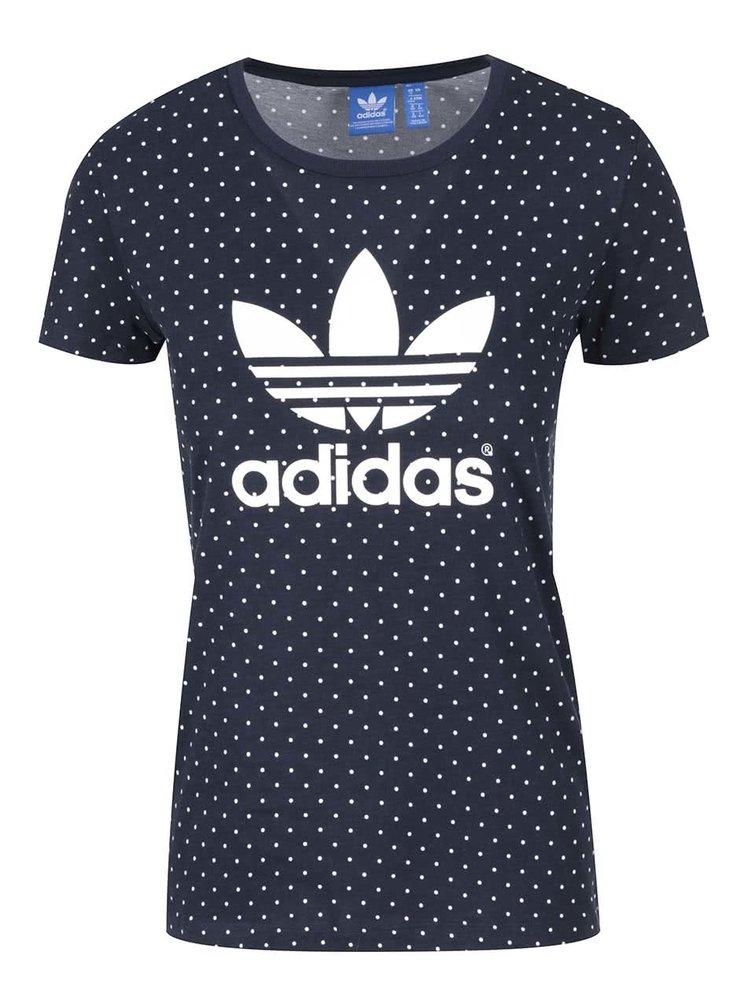 37e9ff30e8d Tmavě modré dámské puntíkované tričko s logem adidas Originals Trefoil