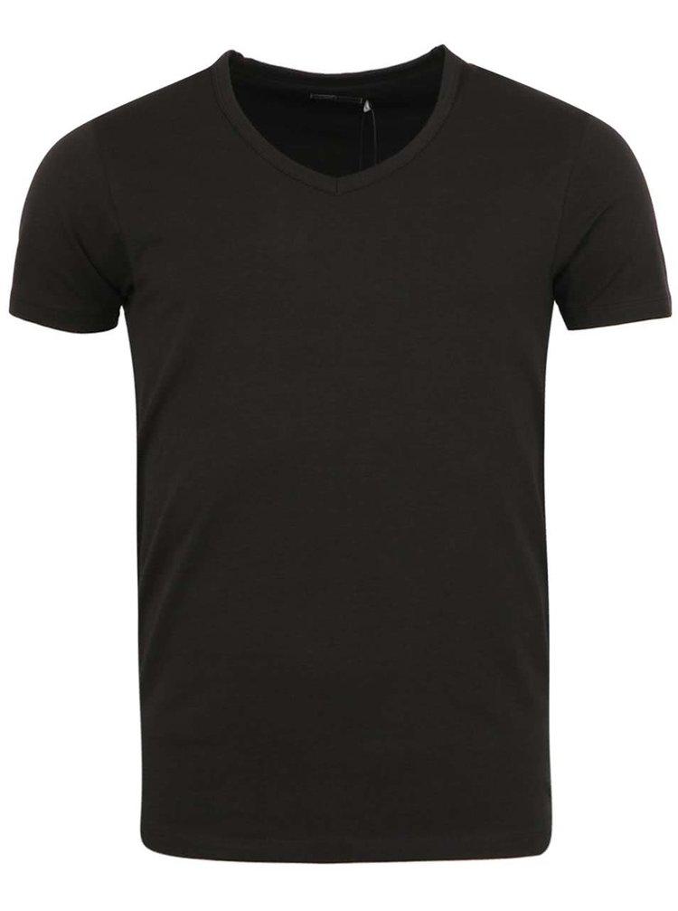 Černé tričko s véčkovým výstřihem Jack & Jones Basic