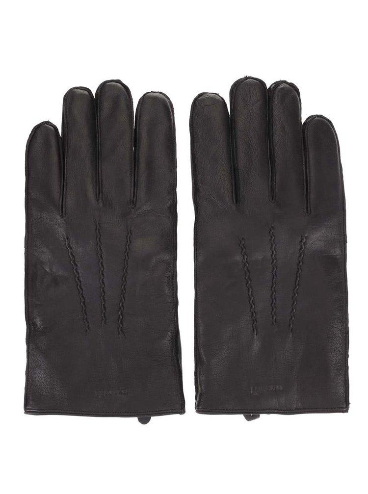 Čierne kožené rukavice Ben Sherman