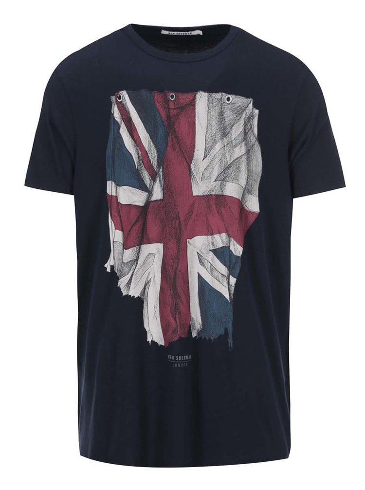 Tmavomodré tričko s vlajkou Ben Sherman