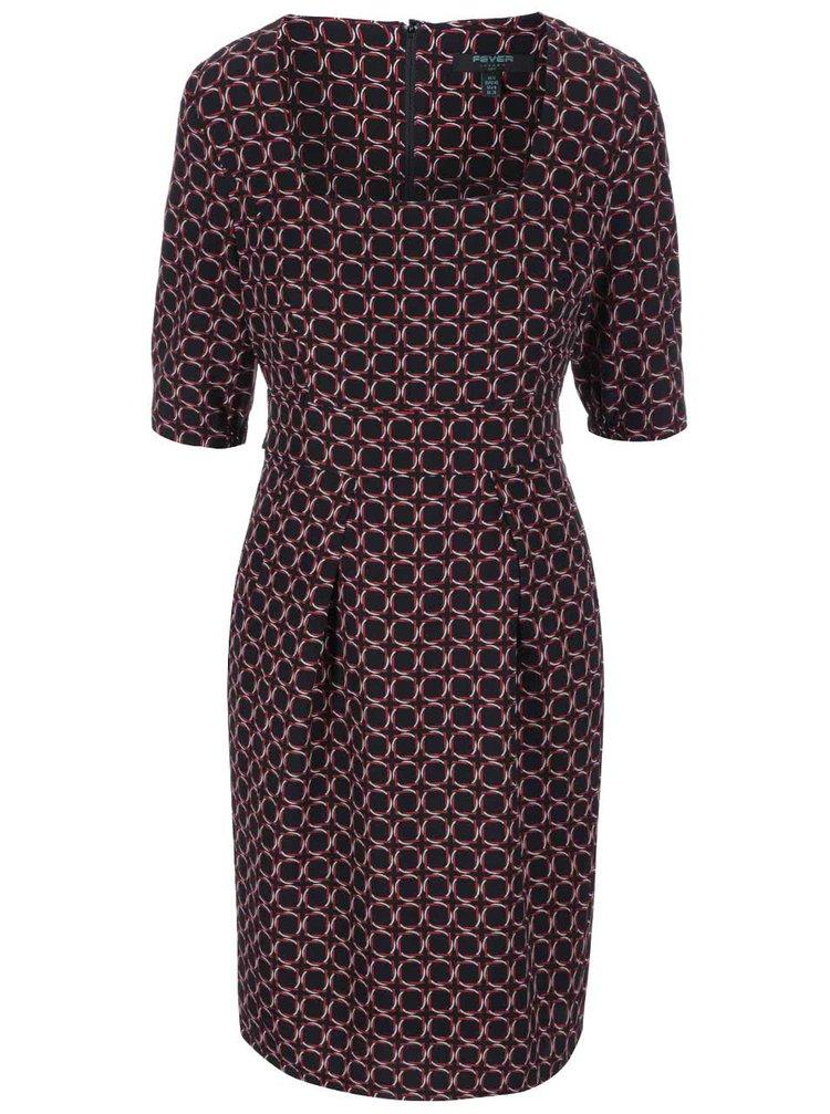 Černé vzorované šaty s obdélníkovým výstřihem Fever London Marseille