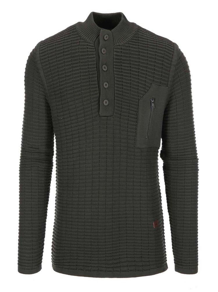 Tmavozelený sveter s gombíkmi Bertoni Jarl