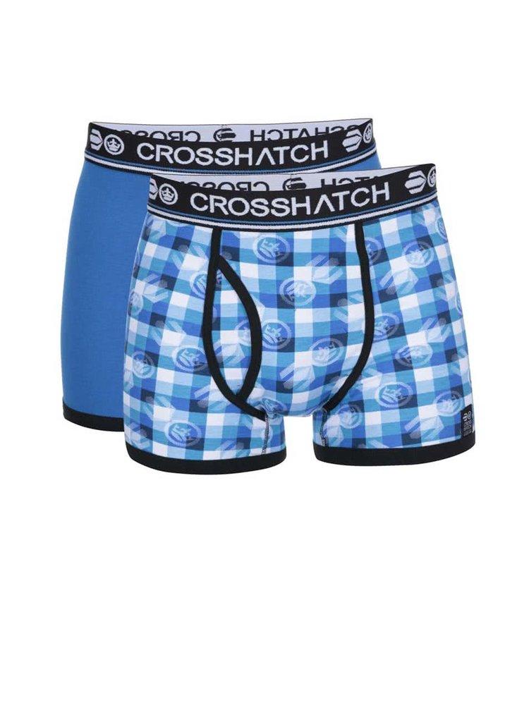 Boxeri albaștri cu imprimeu Crosshatch Pixflix - pachet două perechi