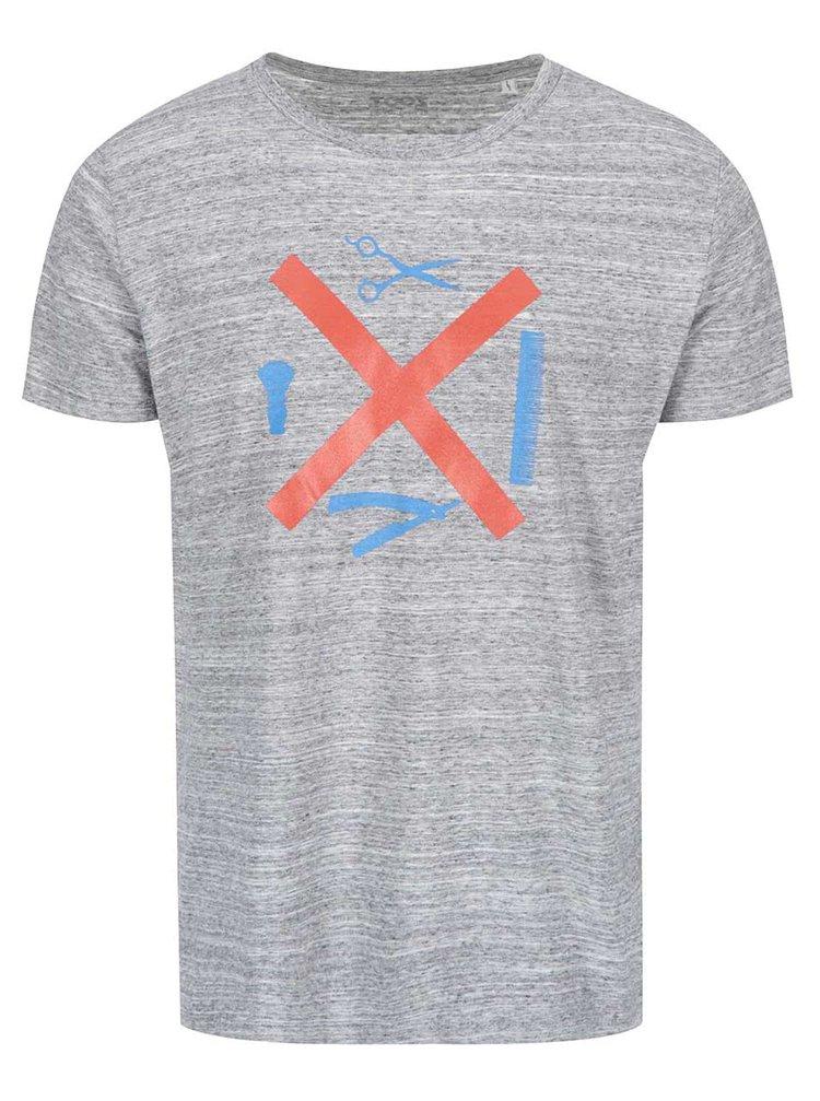 Šedé žíhané pánské triko ZOOT Originál Nástroje