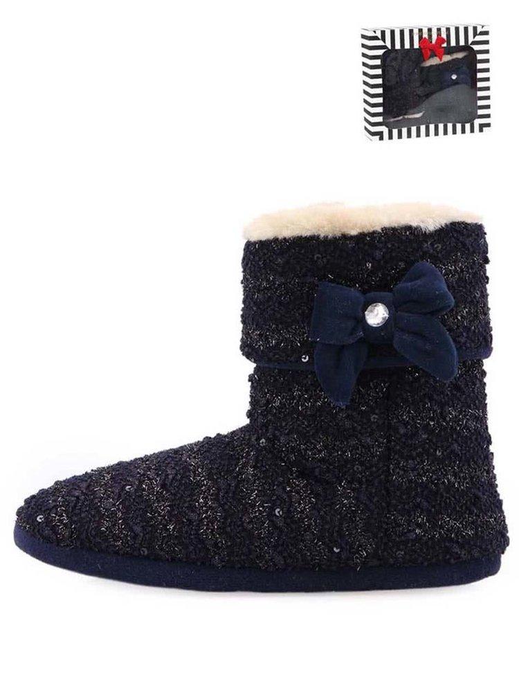 Tmavomodré dámske trblietavé pletené papuče s mašľou Something Special by Moon