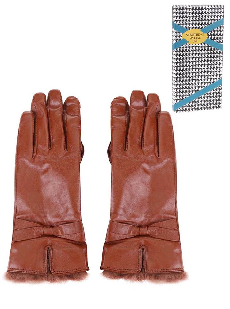 Mănuși de damă din piele maro închis Something Special by Moon