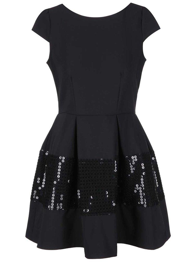 Čierne šaty s flitrami na sukni Closet
