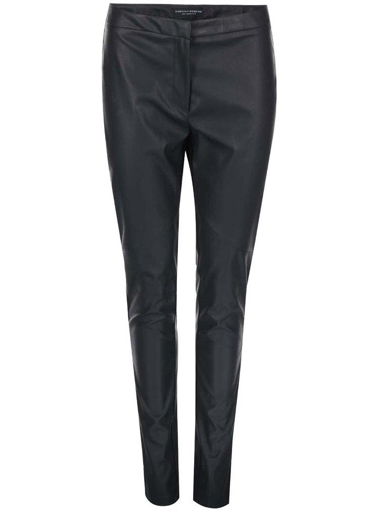 Pantaloni Dorothy Perkins negri din imitație de piele