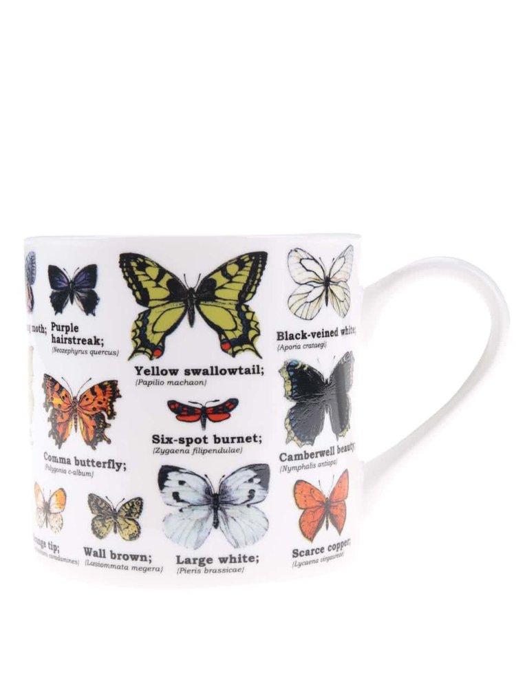Biely hrnček s potlačou motýľov Gift Republic