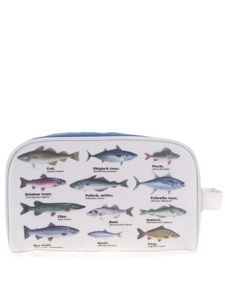 Trusă de igienă albă cu imprimeu cu pești Gift Republic