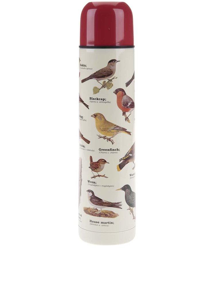 Biela termoska s potlačou vtákov Gift Republic