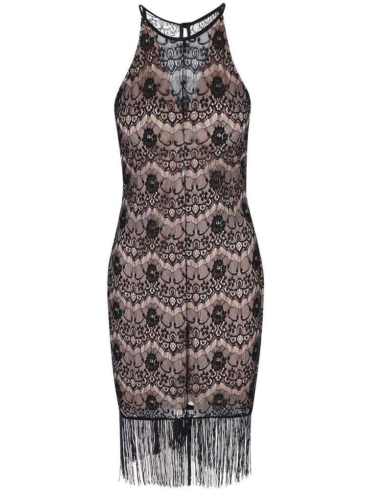 Rochie din dantelă, bej cu negru, Daria, de la Lipstick Boutique