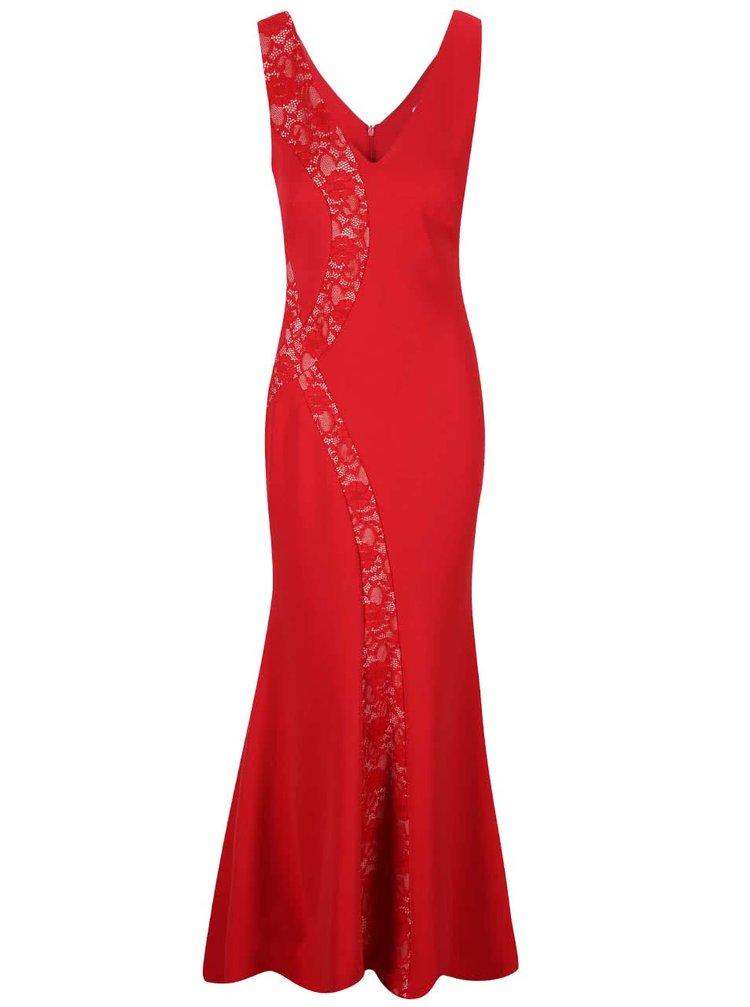 Červené dlouhé šaty s krajkovými detaily Lipstick Boutique Lena