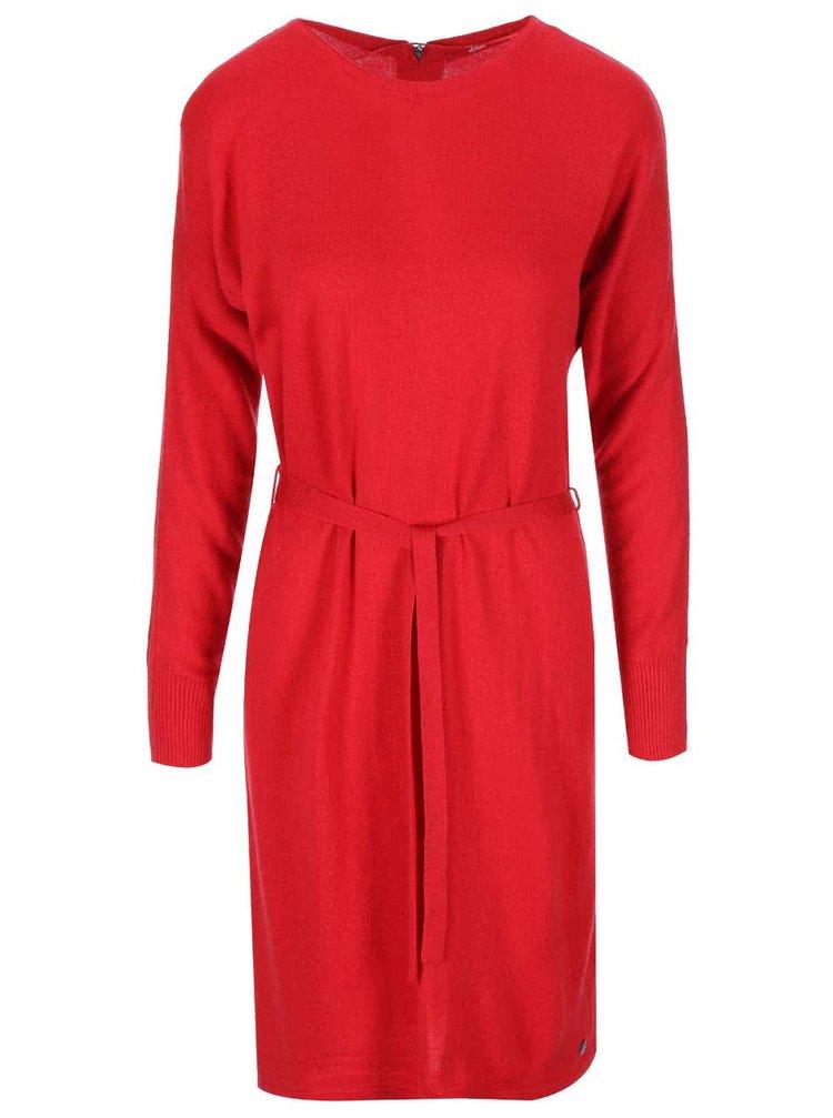 rochie rosie tricotata cu maneca lunga s.Oliver