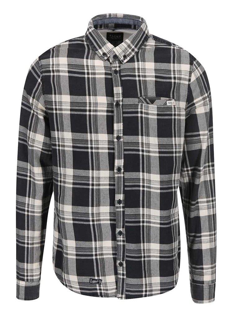 Čierna kockovaná košeľa s vreckom Blend