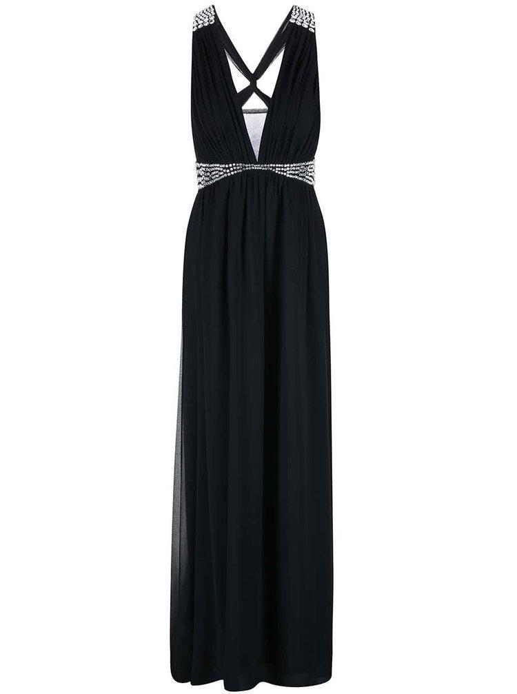 Rochie lungă neagră din șifon GODDIVA