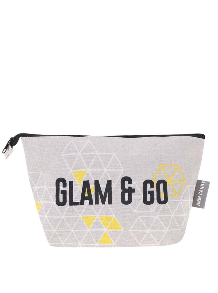 Béžová kosmetická taštička s geometrickými vzory Disaster Arm Candy