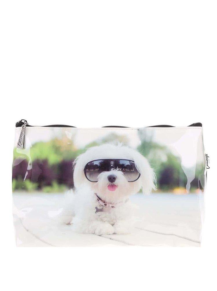 Geantă de toaletă Catseye London, albă, imprimeu câine diva