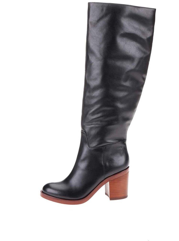 Čierne kožené čižmy na podpätku ALDO Luckie
