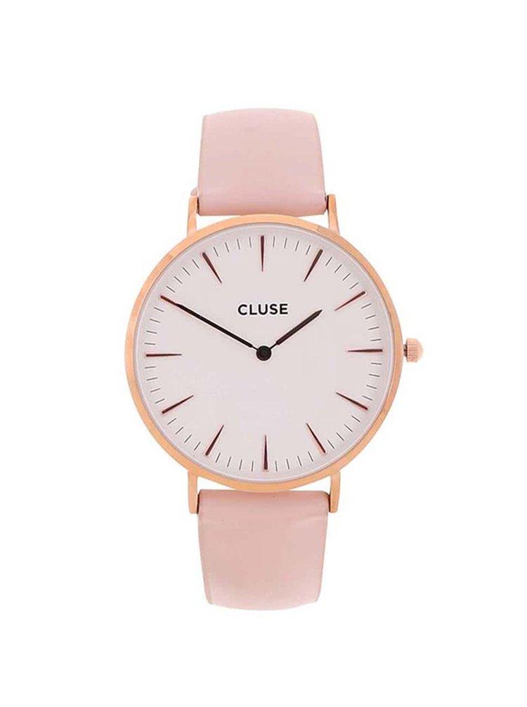 Bílo-růžové dámské kožené hodinky CLUSE La Bohème Rose Gold