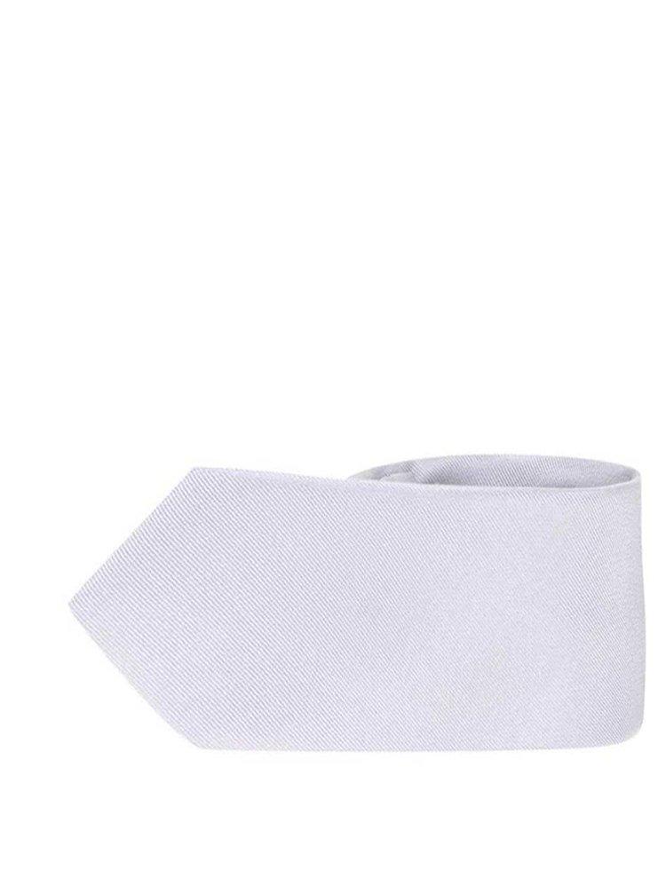 Hedvábná slim kravata ve stříbrné barvě Selected Homme Plain