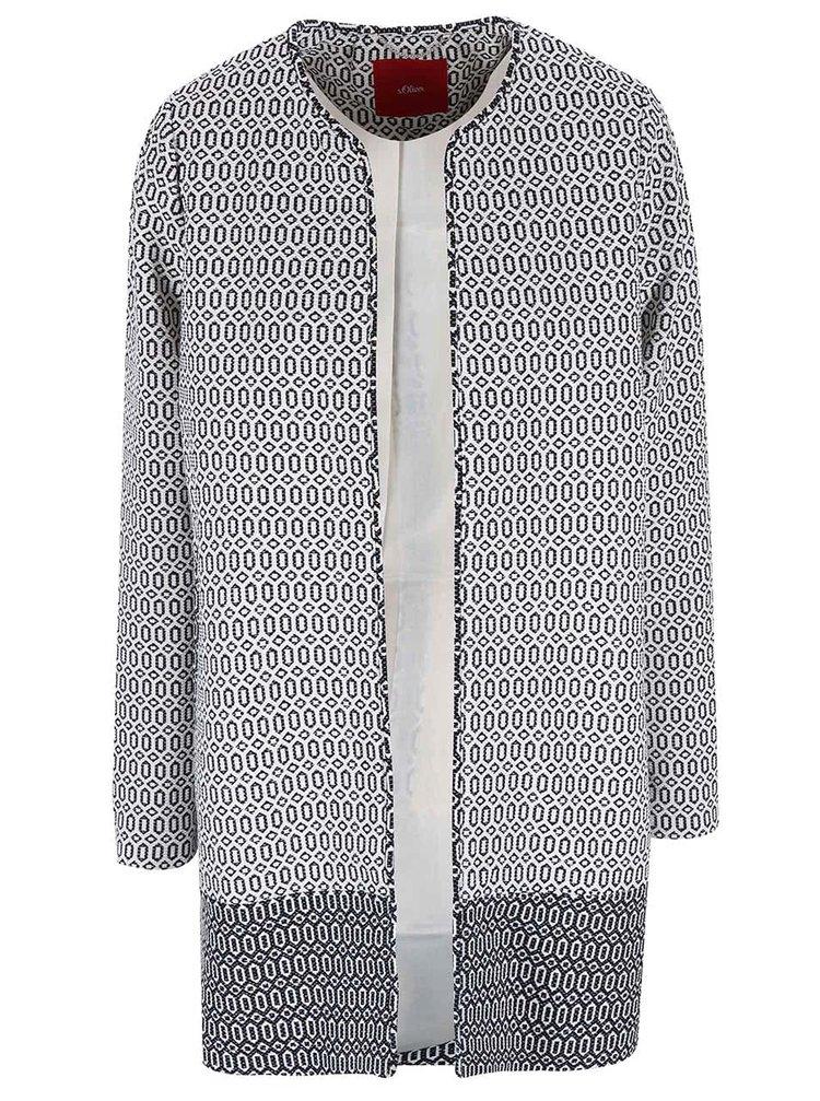Modro-krémový kabát so vzorom s.Oliver