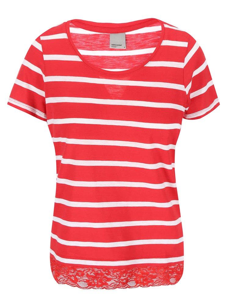 Bielo-červené pruhované tričko s čipkovaným lemom VERO MODA Hope