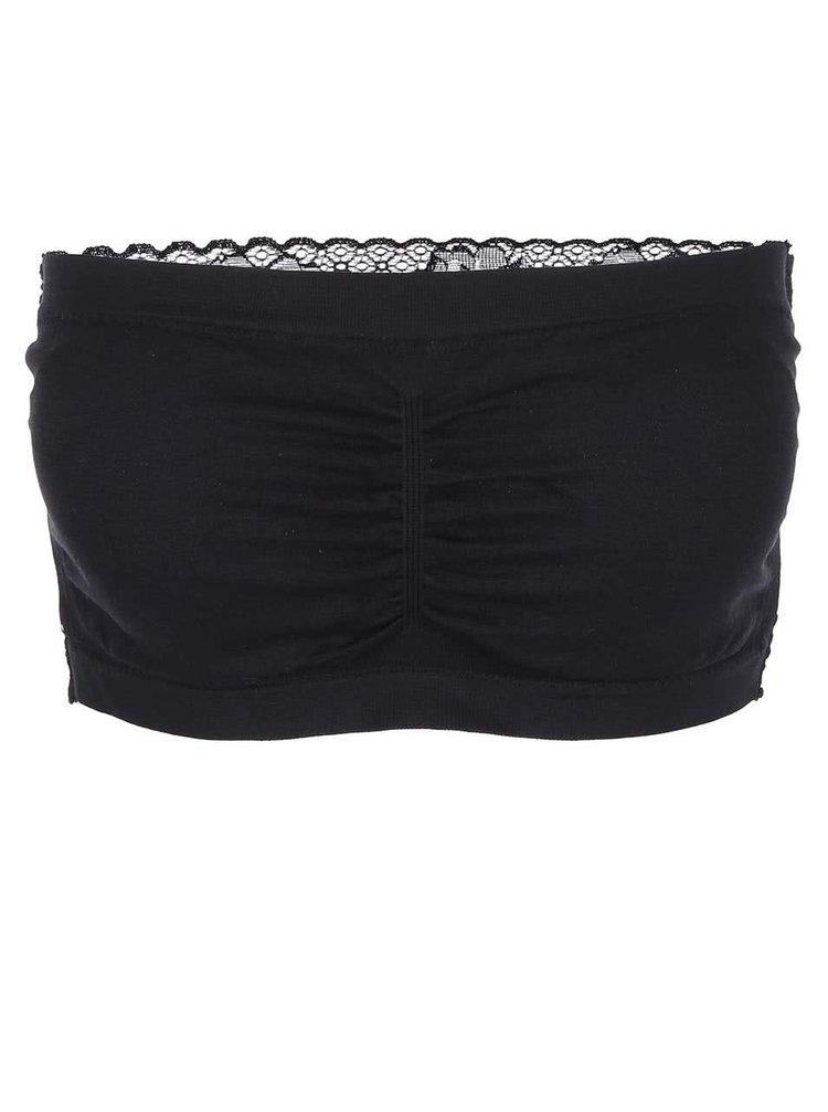 Čierna bandeau podprsenka s čipkovým chrbtom Haily's Bandeau