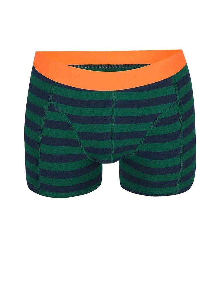 Zeleno-modré pruhované boxerky Jack & Jones Harkel