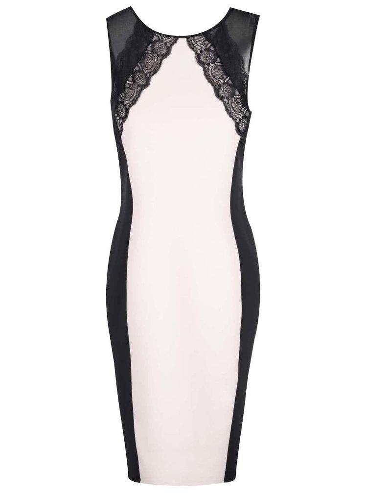 Marhuľové puzdrové šaty s čiernou čipkou Dorothy Perkins
