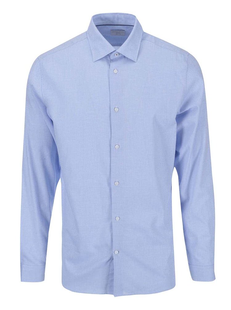 Selected Homme Jim Light Blue Patterned Pocket Shirt