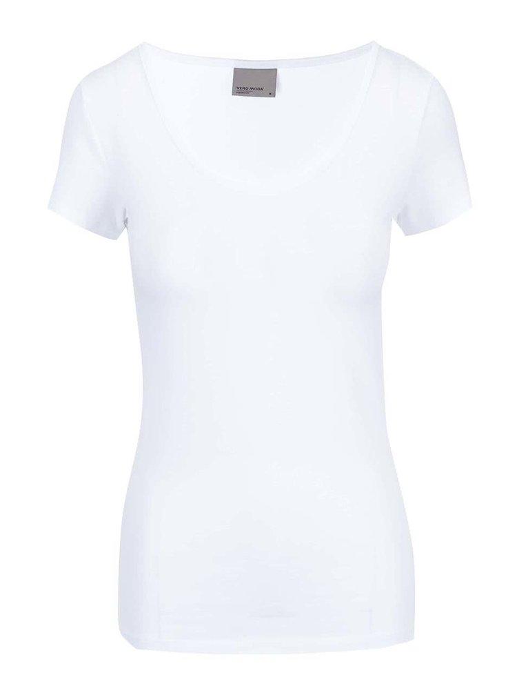 Biele basic tričko s okrúhlym výstrihom VERO MODA Maxi My