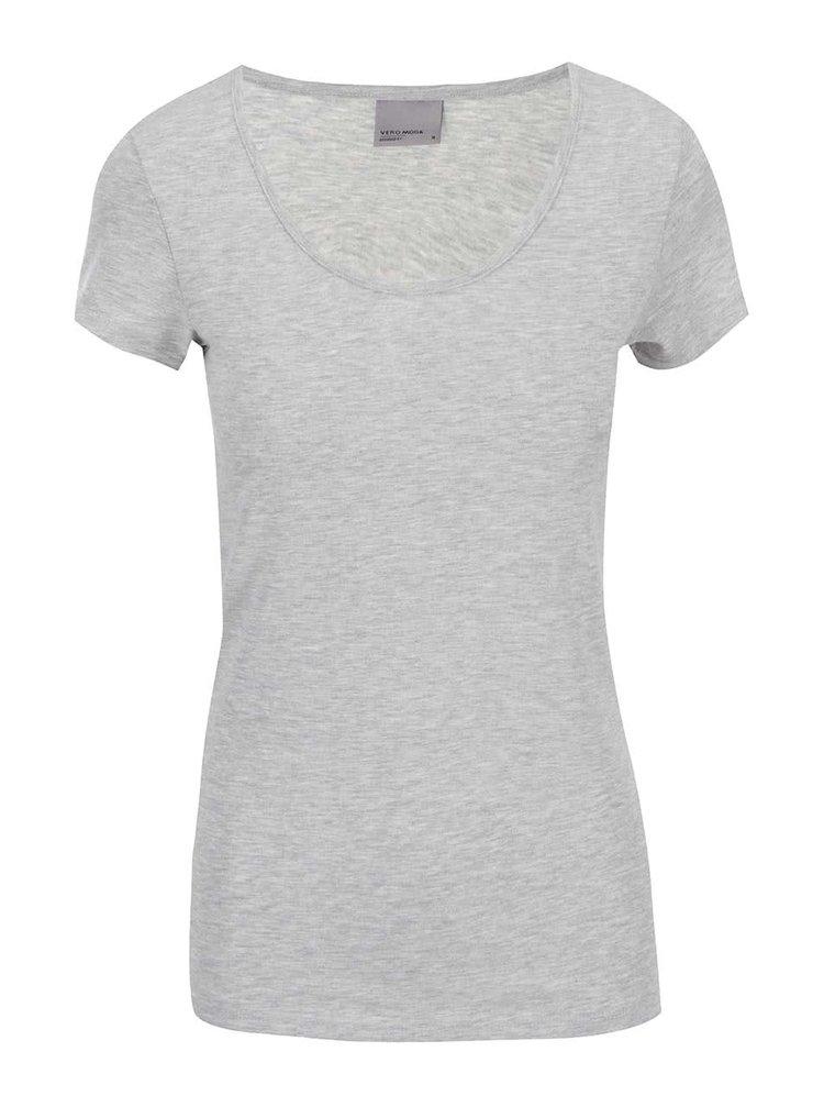 Světle šedé tričko s kulatým výstřihem VERO MODA Maxi My
