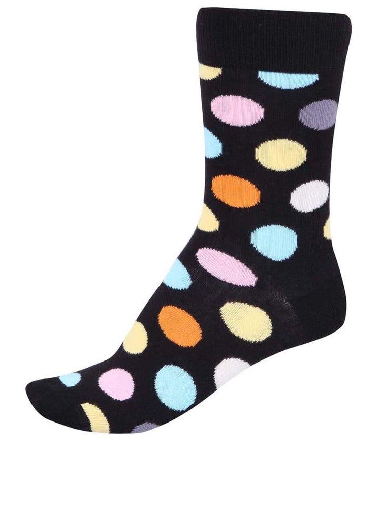 Černé unisex ponožky s barevnými puntíky Happy Socks Big Dots