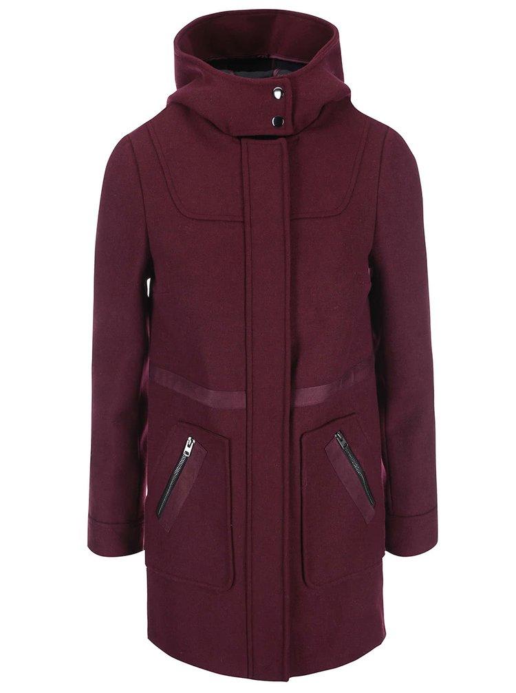 Vínový kabát s kapucňou Dorothy Perkins