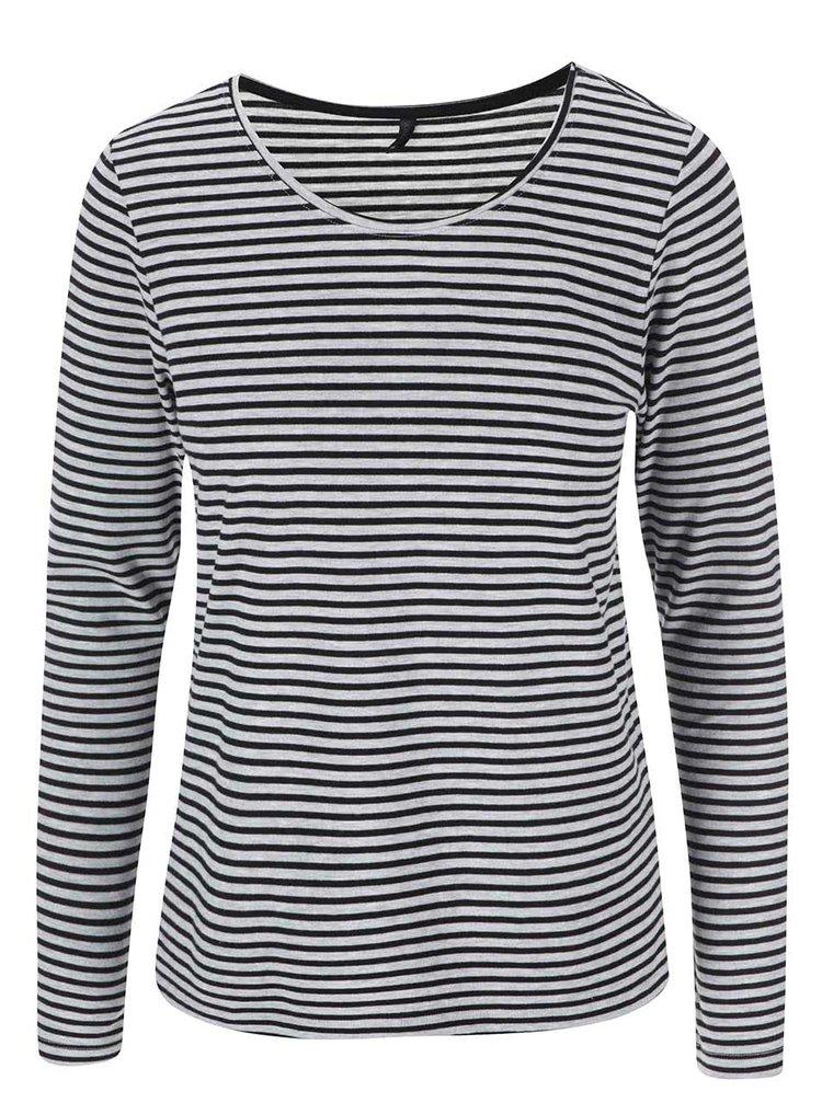 Čierno-sivé pruhované tričko s dlhými rukávmi ONLY Love