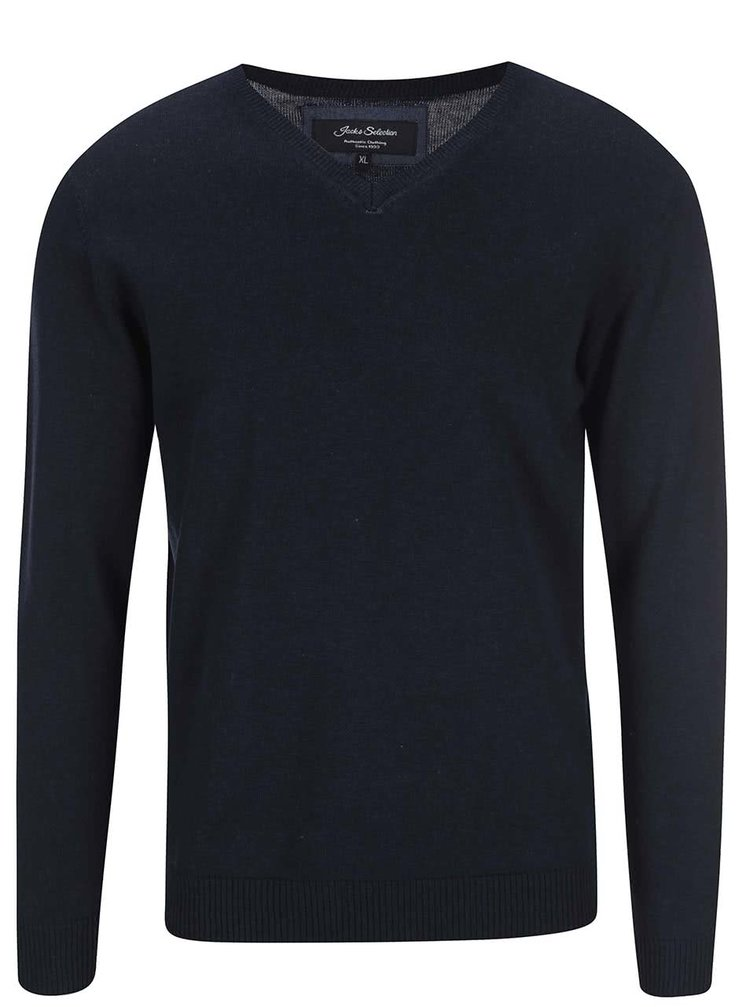 Tmavomodrý sveter s výstrihom do V Jacks