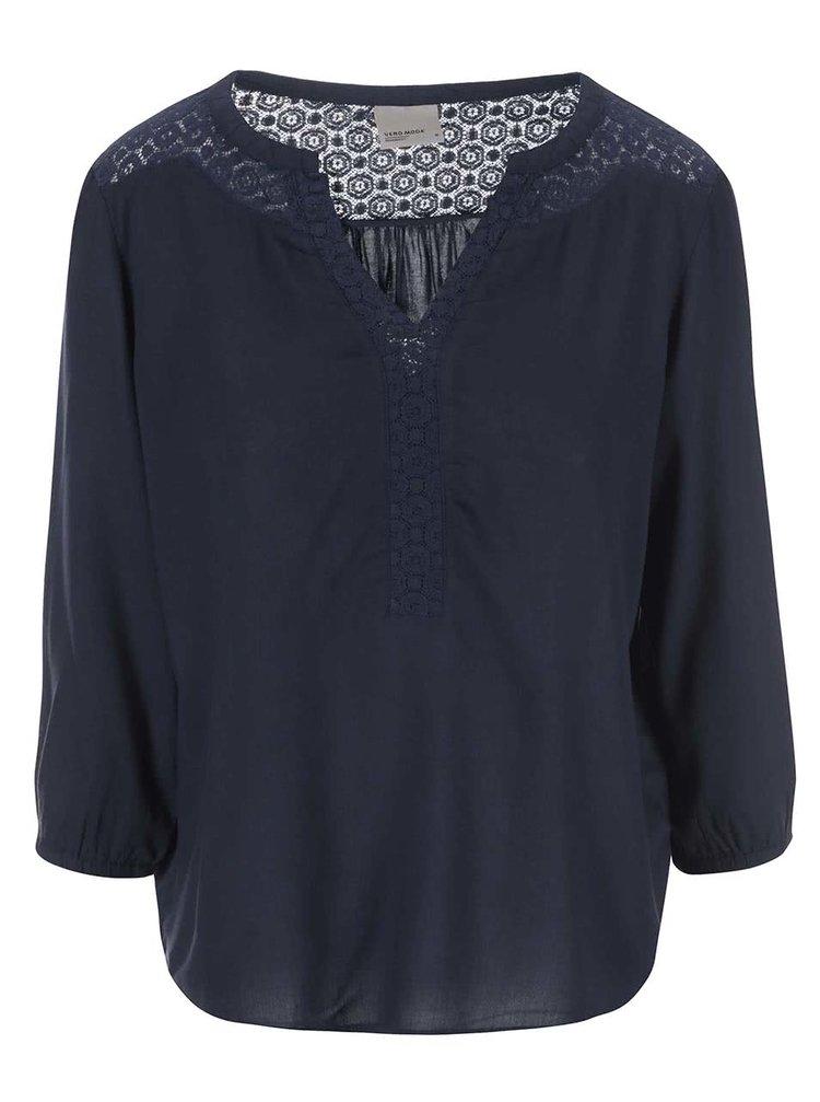 Bluză bleumarin cu detalii din dantelă VERO MODA Nova